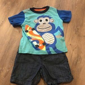 Boy's 2T Monkey Shorts Set
